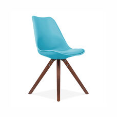 Viborg Mid Century Blue Side Chair with Walnut Wood Base - Set of 2
