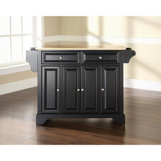 Natural Wood Top Kitchen Island with LaFayette Style Feet - Black Finish