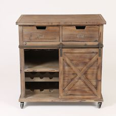 Rustic Wood Wine Cabinet with Sliding Barn Door and 2 Drawers