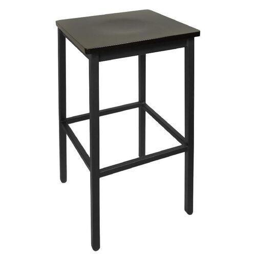 Trent Backless Black Barstool - Wood Seat