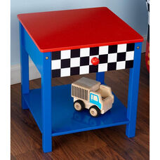 Racecar Themed Wooden Low Height Side Table with Storage Drawer