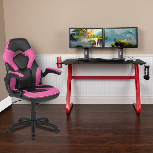 BlackArc Red Gaming Desk and Pink/Black Racing Chair Set with Cup Holder and Headphone Hook
