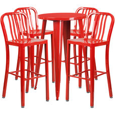 """Commercial Grade 24"""" Round Red Metal Indoor-Outdoor Bar Table Set with 4 Vertical Slat Back Stools"""
