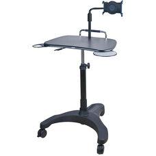 Sit Stand Mobile Laptop Workstation with Tablet Holder - Black