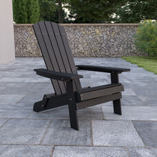 Charlestown All-Weather Poly Resin Indoor/Outdoor Folding Adirondack Chair in Black