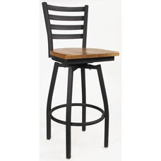 Boggs Series Armless Swivel Barstool with Steel Frame and Wood Seat