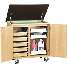 Write-N-Roll Mobile Science Lab Locking Unit with 3 Sliding Drawers and 5 Tan Fiberglass Tote Trays - 36