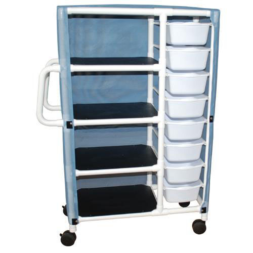4 Shelf Specialty Cart with 8 Pull Out Tubs with Mesh Cover and Casters - 21.5