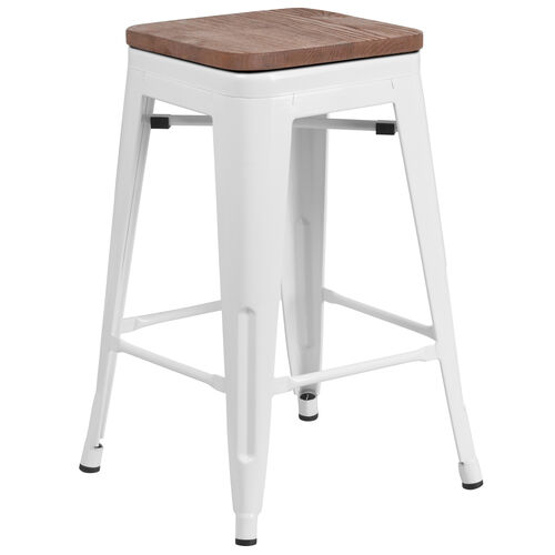 "Our 24"" High Backless White Metal Counter Height Stool with Square Wood Seat is on sale now."