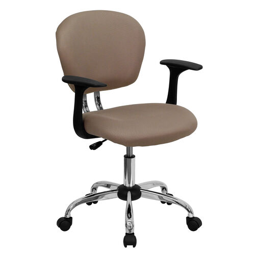 Our Mid-Back Coffee Brown Mesh Padded Swivel Task Office Chair with Chrome Base and Arms is on sale now.