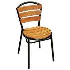 Sand Key Collection Outdoor Stackable Side Chair with Teak Back and Seat - Black