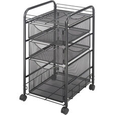 Onyx™ Mesh File Cart with One File Drawer and Two Small Drawers - Black