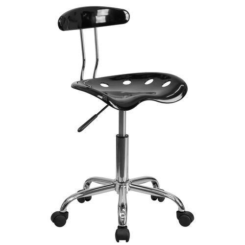 Our Vibrant Black and Chrome Swivel Task Office Chair with Tractor Seat is on sale now.
