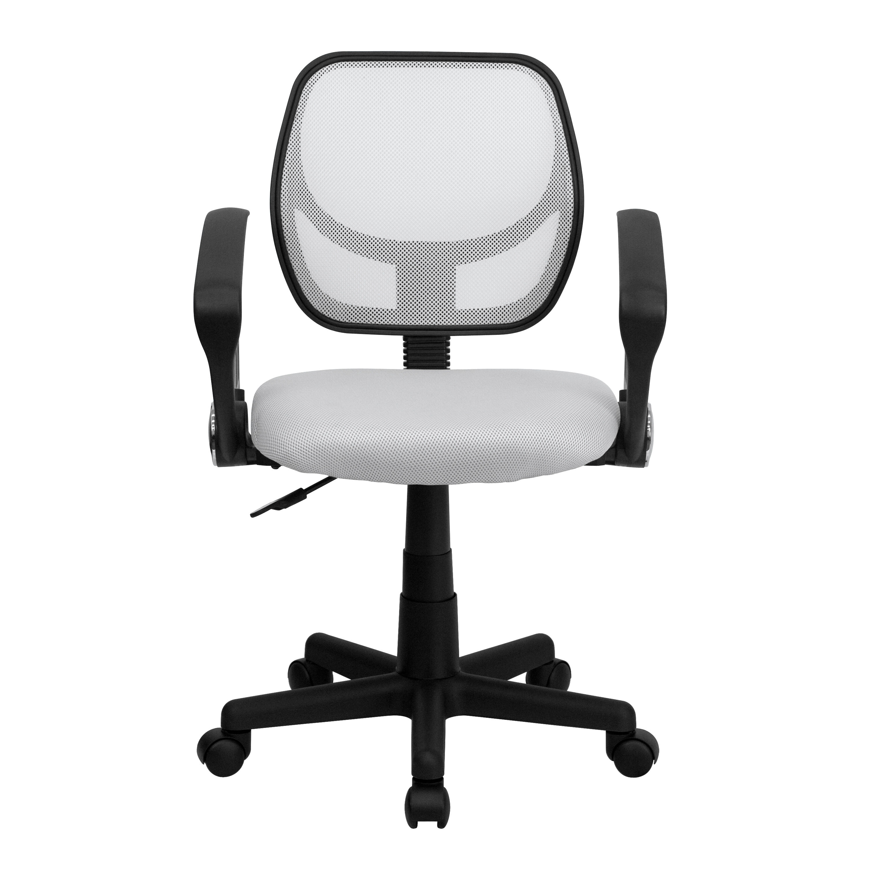 Our Mid Back White Mesh Swivel Task Chair With Arms Is On Sale Now.