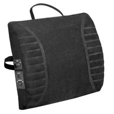 Heated Massage Lumbar Cushion with Adjustable Strap - Black
