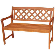 Outdoor Oil Treated Asian Hardwood Lattice X-Back Bench with Arms - Oak Finish
