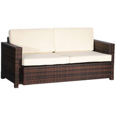 Outdoor Weave Series Double Couch with Ivory Cushions - Espresso