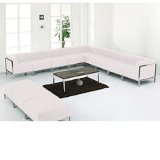 HERCULES Imagination Series Melrose White LeatherSoft Sectional & Ottoman Set, 12 Pieces