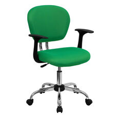 Mid-Back Bright Green Mesh Padded Swivel Task Office Chair with Chrome Base and Arms