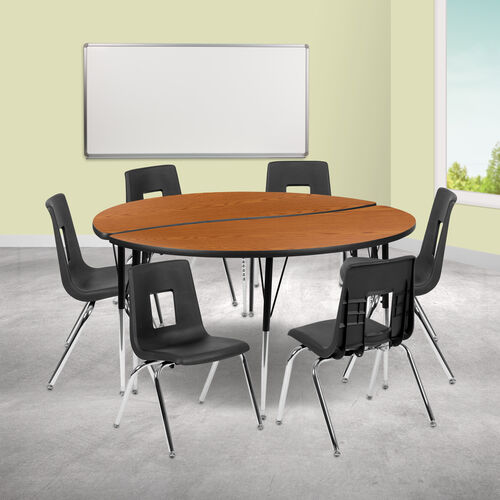 """60"""" Circle Wave Collaborative Laminate Activity Table Set with 16"""" Student Stack Chairs, Oak/Black"""