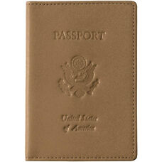 Debossed Passport Holder and Travel Document Organizer - Milano Feather Lite Man Made Leather - Tan