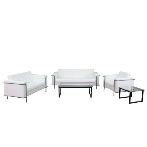 """Our HERCULES Lesley Series Reception Set in White with <span style=""""color:#0000CD;"""">Free </span> Tables is on sale now."""