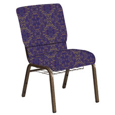 Embroidered 18.5''W Church Chair in Watercolor Jazz Fabric with Book Rack - Gold Vein Frame