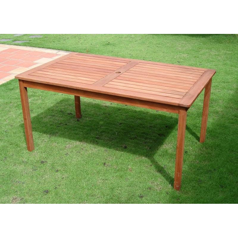 ... Our Malibu Outdoor 5 Piece Wood Patio Dining Set With 2 Five Foot  Backless Benches And ...