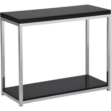 Ave Six Wall Street Wood Veneer Foyer Table with Chrome Finished Steel Base - Black