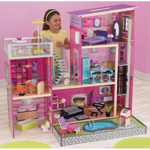 Our Luxury Uptown Wooden Dollhouse for 12
