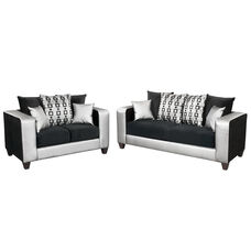 Riverstone Implosion Black Velvet Living Room Set with Black & Shimmer Steel Frame
