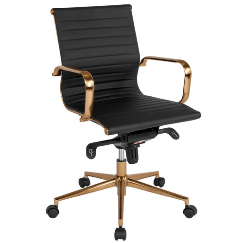 Our Mid-Back Black Ribbed Leather Executive Swivel Office Chair with Gold Frame, Knee-Tilt Control and Arms is on sale now.