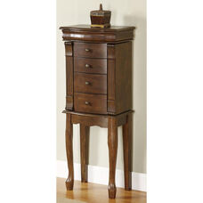 Louis Phippe Jewelry Armoire - Walnut with Black Lining
