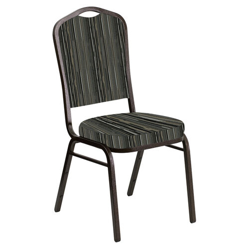 Embroidered Crown Back Banquet Chair in Canyon Pewter Fabric - Gold Vein Frame