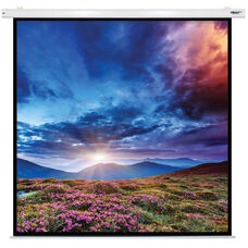 White Wall Mountable Electric Projection Screen with Matte White Fabric Screen and White Powder-Coated Aluminum Housing - 96