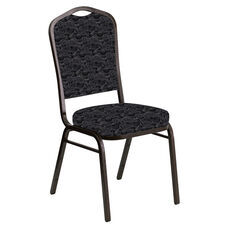 Crown Back Banquet Chair in Perplex Ebony Fabric - Gold Vein Frame
