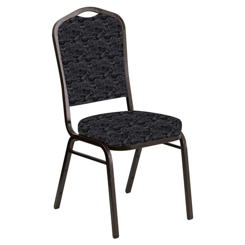 Our Embroidered Crown Back Banquet Chair in Perplex Ebony Fabric - Gold Vein Frame is on sale now.