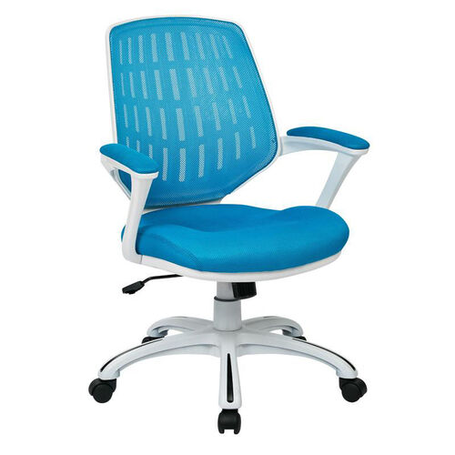 Our Ave Six Calvin Mesh Office Chair with White Frame and Fabric Padded Seat and Arms - Blue is on sale now.