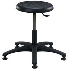 Industrial Round Black Polyurethane Stool with ABS Base and Glides