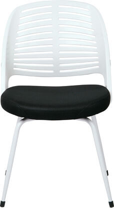 Ave Six Tyler White Frame and Mesh Fabric Seat Visitors Chair with Padded Armrests - White
