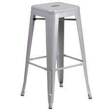 "Commercial Grade 30"" High Backless Silver Metal Indoor-Outdoor Barstool with Square Seat"