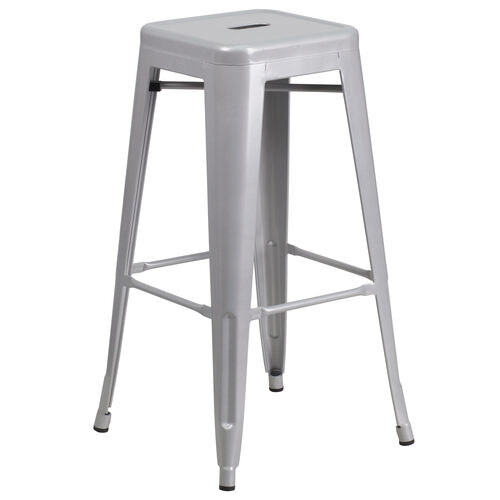"Our Commercial Grade 30"" High Backless Silver Metal Indoor-Outdoor Barstool with Square Seat is on sale now."