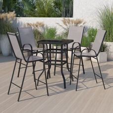 Outdoor Dining Set - 4-Person Bistro Set - Outdoor Glass Bar Table with Gray All-Weather Patio Stools