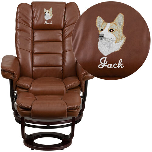 Our Embroidered Contemporary Multi-Position Recliner and Ottoman with Swivel Mahogany Wood Base in Brown Vintage LeatherSoft is on sale now.