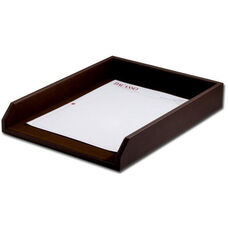 Classic Leather Front Load Letter Sized Tray - Chocolate Brown
