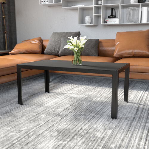 Franklin Collection Sleek Black Glass Coffee Table with Black Metal Legs