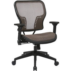 Space Air Grid Seat and Back Chair with 2-to-1 Synchro Tilt Control and Height Adjustable Padded Arms - Latte