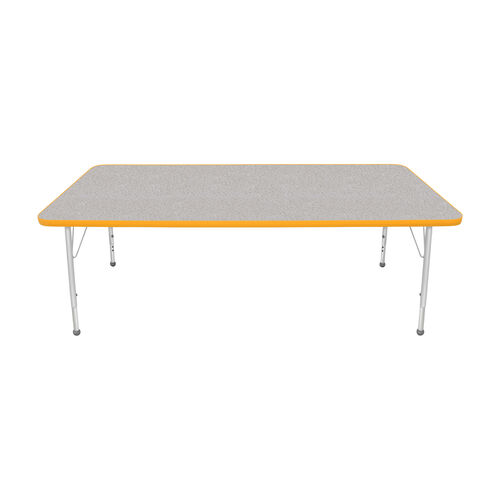 Our Adjustable Standard Height Laminate Top Rectangular Activity Table - Nebula Top with Yellow Edge and Legs - 72