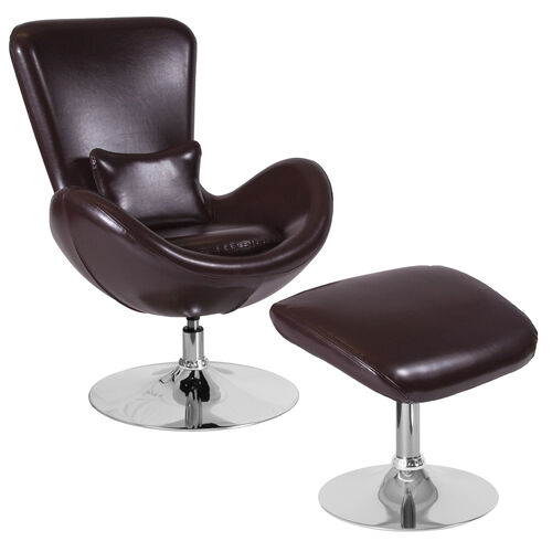 Our Egg Series Brown Leather Side Reception Chair with Ottoman is on sale now.