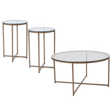 Greenwich Collection 3 Piece Coffee and End Table Set with Glass Tops and Matte Gold Frames